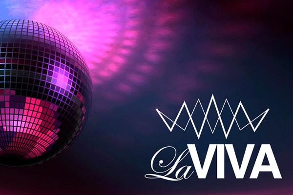 Discokugel mit logo von La Viva Disco